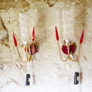 paire d'appliques rétro vintage des années 50 en verre et laiton. Pair of antic French wall light