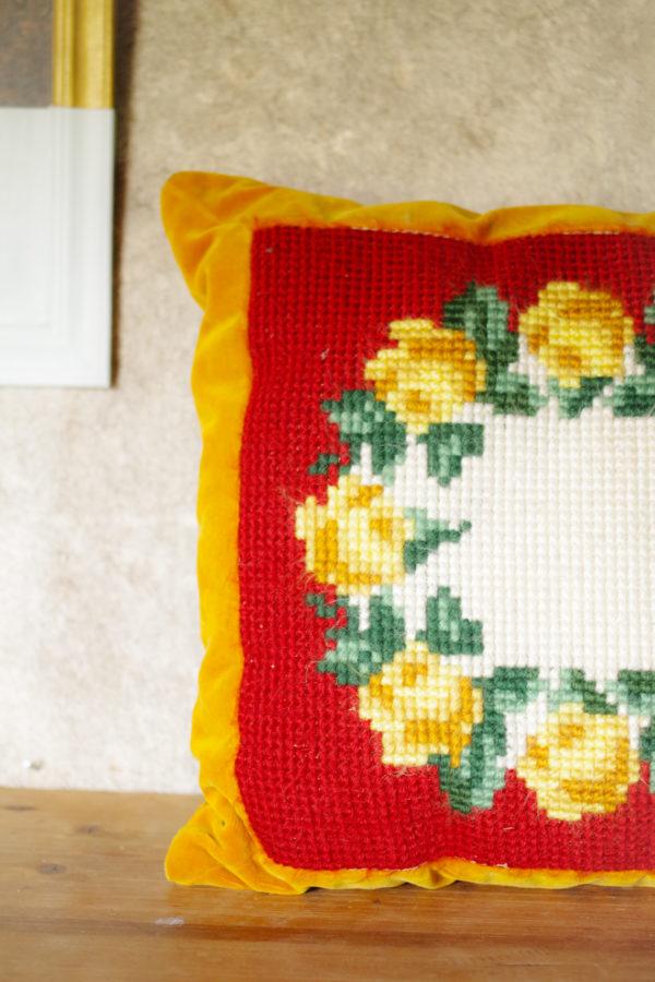 Coussin fait main vintage velours canevas laine années 50 / Vintage handmade cushion / Boho decor / Hippie Throw Pillow