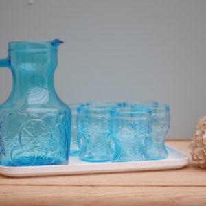 Ensemble citronnade vintage des années 50-60 bleu glacier.