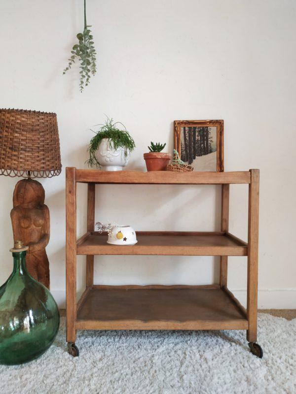 Cette table sur roulettes ancienne agrémentée de plantes sera parfaite en bout de canapé ou dans l'entrée.