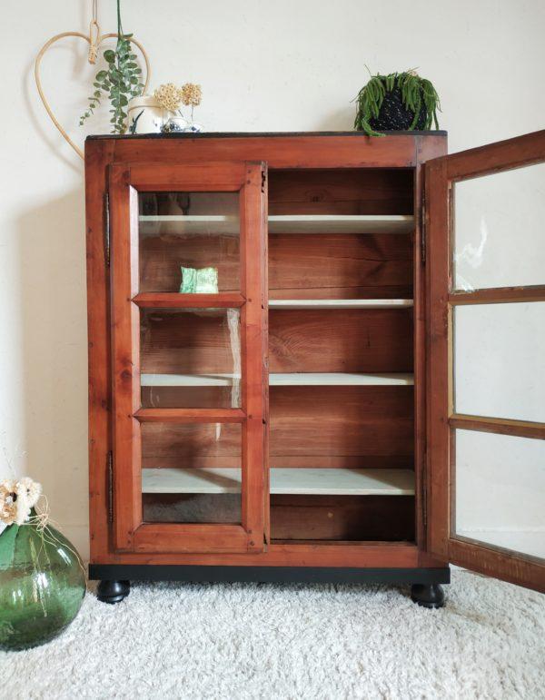Bibliothèque en bois ancienne - vitrine ancienne