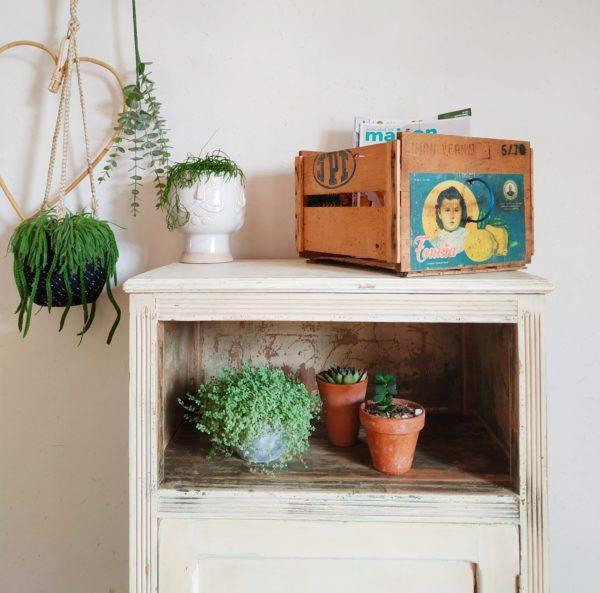 Cette caisse en bois vintage est de taille moyenne, légèrement patinée par les années de service.