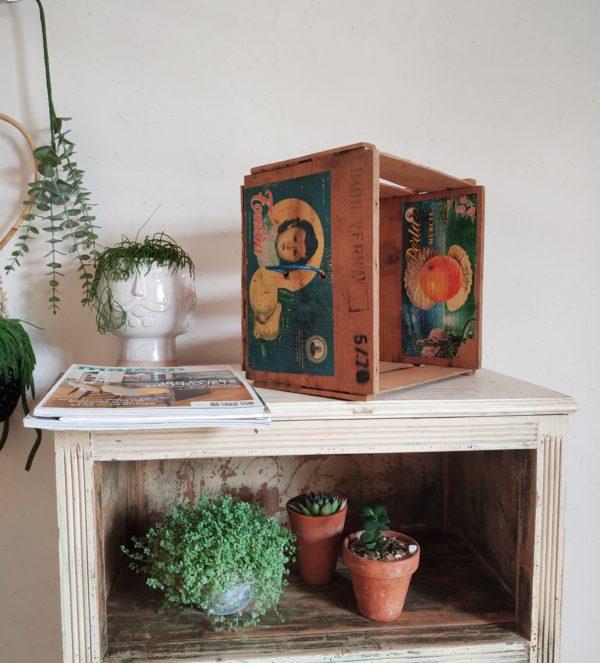 Cette malle en bois rétro transportait à l'origine des agrumes en provenance de la région de murcia en espagne, en attestent la présence des étiquettes anciennes toujours présentes.