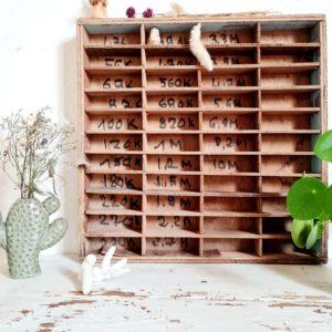 Voici un mini casier rétro de métier ancien provenant d'un atelier.