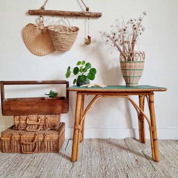 Table basse ancienne bambou plateau vert
